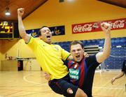 16 March 2008; Rodrigo De Melo, left, and Tomas Chudy, St. Patrick's Athletic, celebrate after the match. eircom League of Ireland Futsal League Final, Bohemians v St. Patrick's Athletic, National Basketball Arena, Tallaght. Co Dublin. Picture credit; Stephen McCarthy / SPORTSFILE