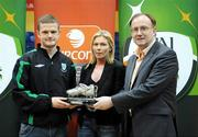 16 March 2008; Dane Massey, Bray Wanderers, is presented with the Player of the Tournament award by Caroline Rhatigan, Vice-Chairperson of the eircom League of Ireland, and Fran Gavin, Chairman of the eircom League of Ireland. eircom League of Ireland Futsal League Final, Bohemians v St. Patrick's Athletic, National Basketball Arena, Tallaght. Co Dublin. Picture credit; Stephen McCarthy / SPORTSFILE