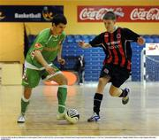 16 March 2008; Ian Byrne, Bohemians, in action against Colm Carroll, Cork City. eircom League of Ireland Futsal League Semi-Final, Bohemians v Cork City, National Basketball Arena, Tallaght, Dublin. Picture credit; Stephen McCarthy / SPORTSFILE