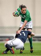 22 March 2015; Hannah Tyrrell, Ireland, is tackled by Eilidh Sinclair, Scotland. Women's Six Nations Rugby Championship, Scotland v Ireland. Broadwood Stadium, Clyde FC, Glasgow, Scotland. Picture credit: Stephen McCarthy / SPORTSFILE