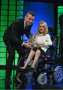 "22 March 2015; Aoife McNicoll, winner of the"" Football for All"" International player of the year award, is presented with the award by Republic of Ireland International Shay Given at the 3 FAI International Football Awards. RTE Studios, Donnybrook, Dublin. Picture credit: David Maher / SPORTSFILE"