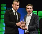 22 March 2015; Darren Dunne, Sheriff YC, winner of the Junior player of the year award, is presented with his award by Republic of Ireland International Shay Given at the 3 FAI International Football Awards. RTE Studios, Donnybrook, Dublin. Picture credit: David Maher / SPORTSFILE