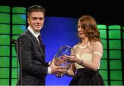 22 March 2015; Republic of Ireland International Jack Gealish, winner of the Republic of Ireland U21 player of the year award, is presented with his award by 3 Chief Commercial officer Elaine Carey, at the 3 FAI International Football Awards. RTE Studios, Donnybrook, Dublin. Picture credit: David Maher / SPORTSFILE