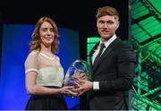 22 March 2015; Republic of Ireland International Jeff Hendrick, winner of the Young International player of the year award, is presented with his award by 3 Chief Commercial officer Elaine Carey, at the 3 FAI International Football Awards. RTE Studios, Donnybrook, Dublin. Picture credit: David Maher / SPORTSFILE
