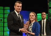 22 March 2015; Republic of Ireland International Evelyn Daly, winner of the Republic of Ireland U17 women's player of the year award, is presented with her award by Repubic of Ireland International Shay Given at the 3 FAI International Football Awards. RTE Studios, Donnybrook, Dublin. Picture credit: David Maher / SPORTSFILE