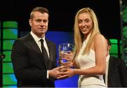 22 March 2015; Republic of Ireland International Megan Connolly, winner of the Republic of Ireland U19 women's player of the year, is presented  with the award by Republic of Ireland International Shay Given at the 3 FAI International Football Awards. RTE Studios, Donnybrook, Dublin. Picture credit: David Maher / SPORTSFILE