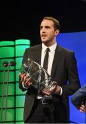 22 March 2015; Republic of Ireland International John O'Shea with the Senior International player of the year award at the 3 FAI International Football Awards. RTE Studios, Donnybrook, Dublin. Picture credit: David Maher / SPORTSFILE