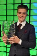 22 March 2015; Republic of Ireland International Jack Gealish, winner of the Republic of Ireland U21 player of the year award, at the 3 FAI International Football Awards. RTE Studios, Donnybrook, Dublin. Picture credit: David Maher / SPORTSFILE