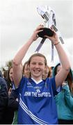24 March 2015; John the Baptist captain Gráinne Ryan lifts the cup after the game. TESCO All Ireland PPS Junior B Final, St Michael's Lurgan, Armagh, v John the Baptist, Limerick. Kinnegad, Westmeath. Picture credit: Piaras O Midheach / SPORTSFILE