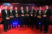 17 October 2008; Kilkenny hurlers, from left, Tommy Walsh, JJ Delaney, James 'Cha' Fitzpatrick, Noel Hickey, Eoin Larkin, hurler of the year, Henry Shefflin, Eddie Brennan, Michael Kavanagh, and Jackie Tyrrell during the GAA All-Stars Awards 2008 Sponsored by Vodafone. Citywest Hotel, Conference, Leisure & Golf Resort, Dublin. Picture credit: Brendan Moran / SPORTSFILE
