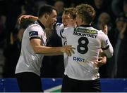 24 March 2015; David McMillan, Dundalk, centre, celebrates with team-mates Brian Gartland, left, and John Mountney, right, after scoring his side's first goal. SSE Airtricity League, Premier Division, Bohemians v Dundalk. Dalymount Park, Dublin. Picture credit: Pat Murphy / SPORTSFILE