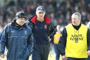 16 March 2008; Roscommon manager John Maughan, centre, along with selectors Gerry Fitzmaurice, left, and Eamon McManus, right, leave the field at half time. Allianz National Football League, Division 2, Round 4, Armagh v Roscommon, St Oliver Plunkett Park, Crossmaglen, Co. Armagh. Picture credit; Oliver McVeigh / SPORTSFILE
