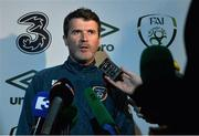 25 March 2015; Republic of Ireland assistant manager Roy Keane during a mixed zone. Aviva Stadium, Lansdowne Road, Dublin. Picture credit: David Maher / SPORTSFILE