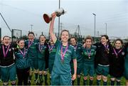 25 March 2015; Maynooth University captain Julie Condon lifts the cup as her team-mates celebrate. WSCAI Premier Final, IT Carlow v Maynooth University, Leixlip United, Collinstown, Leixlip, Co. Kildare. Picture credit: Matt Browne / SPORTSFILE