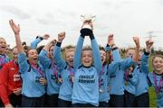 25 March 2015; Athlone Institute of Technology captain Aisling Cosgrove lifts the cup as her team-mates celebrate. WSCAI Challenge Cup Final, Athlone Institute of Technology v North West Regional College. Leixlip United, Collinstown, Leixlip, Co. Kildare. Picture credit: Matt Browne / SPORTSFILE