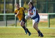 21 March 2015; Edel Murphy, UL, from Laune Rangers, Co. Kerry, in action against Lindsay Peat, from Parnells, Dublin. O'Connor Cup Ladies Football Final, Dublin City University v University of Limerick. Cork IT, Bishopstown, Cork. Picture credit: Diarmuid Greene / SPORTSFILE