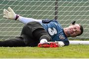 27 March 2015; Republic of Ireland goalkeeper Shay Given jokingly places a spike from a trainiing pole at the side of his head during squad training. Gannon Park, Malahide, Co. Dublin. Picture credit: David Maher / SPORTSFILE