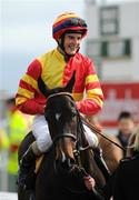 30 March 2008; Jockey Fran Berry all smiles after landing the first flat race of the season at the Curragh on Cool Tarifa. Tally Ho Stud European Breeders Fund Maiden. The Curragh Racecourse, Co. Kildare. Picture credit; Ray McManus / SPORTSFILE