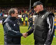 29 March 2015; The Clare and Kilkenny managers, Davy Fitzgerald and Brian Cody, shake hands after the game. Allianz Hurling League, Division 1A, Relegation Play-off, Kilkenny v Clare. Nowlan Park, Kilkenny. Picture credit: Ray McManus / SPORTSFILE