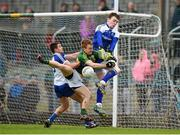 29 March 2015; Thomas Hickey, Kerry, in action against Drew Wylie, left, and goalkeeper Rory Beggan, Monaghan. Allianz Football League, Division 1, Round 6, Kerry v Monaghan. Austin Stack Park, Tralee, Co. Kerry. Picture credit: Stephen McCarthy / SPORTSFILE