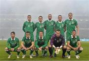 29 March 2015; The Republic of Ireland team, from left to right, James McCarthy, Robbie Keane, Marc Wilson, Glenn Whelan and John O'Shea. Front row, from left to right, Wes Hoolahan, Seamus Coleman, Aiden McGeady, Shay Given and Jonathan Walters. UEFA EURO 2016 Championship Qualifier, Group D, Republic of Ireland v Poland. Aviva Stadium, Lansdowne Road, Dublin. Picture credit: David Maher / SPORTSFILE