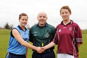 4 April 2008; Referee Derek Byrne, Limerick, with captains Trisha Murphy, St. Mary's Mallow, left, and Emer Leonard, Presentation College Tuam, ahead of the game. Pat the Baker Ladies Football Post Primary Schools Senior A semi-final, St. Mary's Mallow, Cork v Presentation College Tuam, Galway, Toomevara, Co. Tipperary. Picture credit: Stephen McCarthy / SPORTSFILE