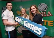 30 March 2015; Dublin hurler Liam Rushe with Dublin camogie player Aine Fanning and Dublin footballer Sinead Finnegan, right, at the opening day of the National Go Games. Croke Park, Dublin Picture credit: David Maher / SPORTSFILE