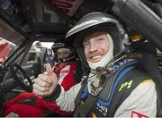 30 March 2015; Pictured during test day for the 2015 Circuit of Ireland Rally this coming Easter weekend is Newstalk 106-108FM and Off The Ball reporter and analyst Colm Parkinson who was special 'co-driver' with current British rally champion Daniel McKenna. 140 top rally cars from all over Europe are expected to thrill the crowds for the Circuit of Ireland which is a round of the European Rally and Irish Championship. Clontibret, Co. Monaghan. Picture credit: Philip Fitzpatrick / SPORTSFILE
