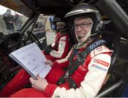 30 March 2015; Pictured during test day for the 2015 Circuit of Ireland Rally this coming Easter weekend is RTÉ analyst and commentator Joe Brolly who was special 'co-driver' with current British rally champion Daniel McKenna. 140 top rally cars from all over Europe are expected to thrill the crowds for the Circuit of Ireland which is a round of the European Rally and Irish Championship. Clontibret, Co. Monaghan. Picture credit: Philip Fitzpatrick / SPORTSFILE