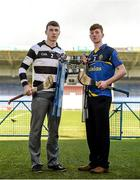 31 March 2015; Liam Blanchfield, vice-captain, St Kieran's College, Kilkenny, left, and Ronan Teehan, captain, Thurles CBS, pictured ahead of the Masita GAA All-Ireland Post Primary Schools Croke Cup Final which will take place between Thurles CBS, Tipperary, and St. Kieran's College, Kilkenny, in Semple Stadium, Thurles, at 5pm on Saturday. Semple Stadium, Thurles, Co. Tipperary. Picture credit: Diarmuid Greene / SPORTSFILE