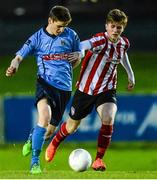 1 April 2015; Dylan Watts, UCD, in action against Chris Flanagan, Derry City. SSE Airtricity U19 League Enda McGuill Cup Final, UCD v Derry City. The UCD Bowl, UCD, Belfield, Dublin. Picture credit: Piaras Ó Mídheach / SPORTSFILE