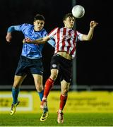 1 April 2015; Georgie Kelly, Derry City, in action against Josh Collins, UCD. SSE Airtricity U19 League Enda McGuill Cup Final, UCD v Derry City. The UCD Bowl, UCD, Belfield, Dublin. Picture credit: Piaras Ó Mídheach / SPORTSFILE