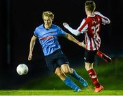 1 April 2015; Greg Sloggett, UCD, in action against Chris Flanagan, Derry City. SSE Airtricity U19 League Enda McGuill Cup Final, UCD v Derry City. The UCD Bowl, UCD, Belfield, Dublin. Picture credit: Piaras Ó Mídheach / SPORTSFILE