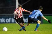 1 April 2015; Gareth McFadden, Derry City, in action against Troy Carey, UCD. SSE Airtricity U19 League Enda McGuill Cup Final, UCD v Derry City. The UCD Bowl, UCD, Belfield, Dublin. Picture credit: Piaras Ó Mídheach / SPORTSFILE