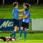 1 April 2015; Jessie Kamm, right, UCD, celebrates scoring his side's third goal with team-mate Troy Carey. SSE Airtricity U19 League Enda McGuill Cup Final, UCD v Derry City. The UCD Bowl, UCD, Belfield, Dublin. Picture credit: Piaras Ó Mídheach / SPORTSFILE