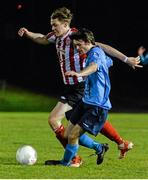 1 April 2015; Sean Byrne, UCD, in action against Georgie Kelly, Derry City. SSE Airtricity U19 League Enda McGuill Cup Final, UCD v Derry City. The UCD Bowl, UCD, Belfield, Dublin. Picture credit: Piaras Ó Mídheach / SPORTSFILE