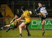 1 April 2015; Fergal McGeough, Monaghan, in action against Conor Parke and Ciaran Thompson, Donegal. EirGrid Ulster U21 Football Championship, Semi-Final, Donegal v Monaghan, Healy Park, Omagh, Co Tyrone. Picture credit: Oliver McVeigh / SPORTSFILE