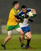 1 April 2015; Mikey Murnaghan, Monaghan, in action against Dara McDaid, Donegal. EirGrid Ulster U21 Football Championship, Semi-Final, Donegal v Monaghan, Healy Park, Omagh, Co Tyrone. Picture credit: Oliver McVeigh / SPORTSFILE