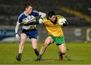1 April 2015; Ryan McHugh, Donegal, in action against Ryan McAnespie, Monaghan. EirGrid Ulster U21 Football Championship, Semi-Final, Donegal v Monaghan, Healy Park, Omagh, Co Tyrone. Picture credit: Oliver McVeigh / SPORTSFILE