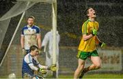 1 April 2015; Ciaran Thompson, Donegal, celebrates after scoring his side's fourth goal. EirGrid Ulster U21 Football Championship, Semi-Final, Donegal v Monaghan, Healy Park, Omagh, Co Tyrone. Picture credit: Oliver McVeigh / SPORTSFILE