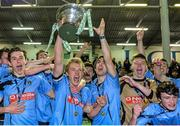 1 April 2015; UCD captain Greg Sloggett lifts the Enda McGuill Cup after the game. SSE Airtricity U19 League Enda McGuill Cup Final, UCD v Derry City. The UCD Bowl, UCD, Belfield, Dublin. Picture credit: Piaras Ó Mídheach / SPORTSFILE