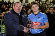 1 April 2015; Daire O'Conchubhair, UCD, is presented with his man of the match award by Eamon Naughton, Chairman of the SSE Airtricity League. SSE Airtricity U19 League Enda McGuill Cup Final, UCD v Derry City. The UCD Bowl, UCD, Belfield, Dublin. Picture credit: Piaras Ó Mídheach / SPORTSFILE