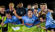 1 April 2015; Daire O'Conchubhair, centre, and his UCD team-mates celebrate after the game. SSE Airtricity U19 League Enda McGuill Cup Final, UCD v Derry City. The UCD Bowl, UCD, Belfield, Dublin. Picture credit: Piaras Ó Mídheach / SPORTSFILE