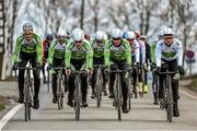 2 April 2015; Irish riders, from left to right, Conor Dunne, Jack Wilson, Sean Downey and Ryan Mullen of the An Post Chain Reaction Sean Kelly Team during a training ride at the 2015 team launch. Gent, Belgium. Picture credit: Ramsey Cardy / SPORTSFILE