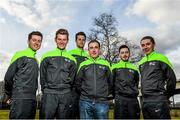 2 April 2015; Irish riders of the An Post Chain Reaction Sean Kelly Team, from left to right, Eoin McCarthy, Ryan Mullen, Conor Dunne, Jack Wilson and Sean Downey, with Team Manager Sean Kelly, third from right, at the 2015 team launch. Gent, Belgium. Picture credit: Ramsey Cardy / SPORTSFILE