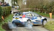 3 April 2015; Euan Thorburn and Paul Beaton, in a Ford Fiesta, in action during the SS4 of the Circuit of Ireland Rally 2015. Bucks Head, Downpatrick, Co. Down. Picture credit: Philip Fitzpatrick / SPORTSFILE
