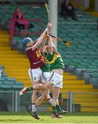 4 April 2015; Tommy Doyle, Westmeath, in action against Mikey Boyle and Patrick Kelly, Kerry. Allianz Hurling League Division 2A Final, Westmeath v Kerry. Gaelic Grounds, Limerick. Picture credit: Diarmuid Greene / SPORTSFILE
