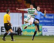 18 April 2008; Tadhg Purcell, Shamrock Rovers, in action against Alan McNally, UCD. eircom league of Ireland Premier Division, Shamrock Rovers v UCD, Tolka Park, Dublin. Picture credit: Stephen McCarthy / SPORTSFILE