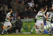 18 April 2008; Padraig Amond, Shamrock Rovers, second from right, celebrates after scoring his side's goal. eircom league of Ireland Premier Division, Shamrock Rovers v UCD, Tolka Park, Dublin. Picture credit; Stephen McCarthy / SPORTSFILE