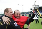 19 April 2008; Justin Sherriff, left, and Nigel Henderson, Pembroke Wanderers, celebrate with the cup after the match. Irish Senior Cup Final, Monkstown v Pembroke Wanderers, National Hockey Stadium, UCD, Belfield. Picture credit: Stephen McCarthy / SPORTSFILE *** Local Caption ***